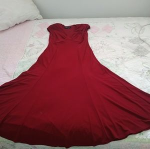Hot Red Sleeveless Dress with Shoulder Pads